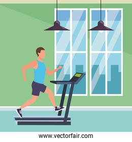 man working out on gym machine