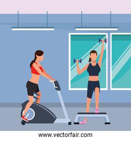 women working out in the gym