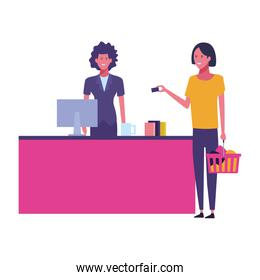 supermarket cashier and customers with shopping bags