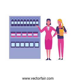 businesswoman and woman with supermarket shelf