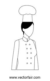 chef woman worker avatar in black and white