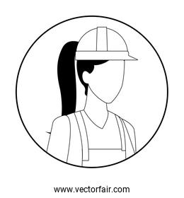 constructionworker Jobs and professions avatar in black and white