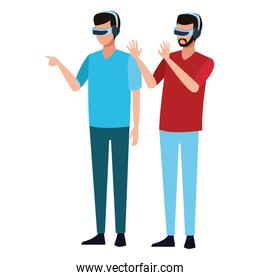 Friends with virtual reality glasses