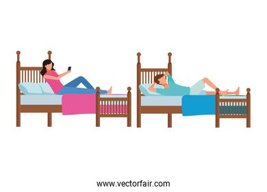 twin bed room and faceless people