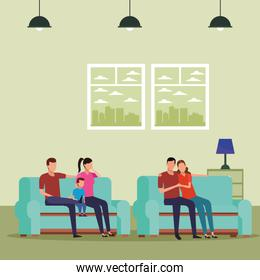 family and couple relationship sofa