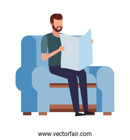 faceless man reading and chair