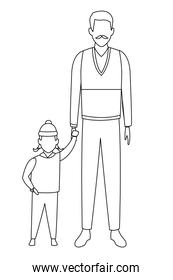 old man and child avatar black and white