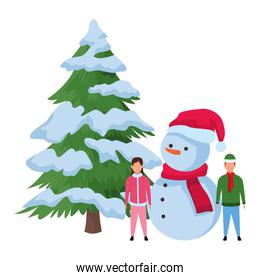 children with snowman and christmas tree