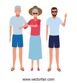 old couple and young man avatar