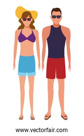 couple wearing summer clothes