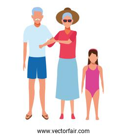 isolated old couple and child avatar
