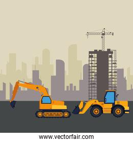 Construction vehicles machinery colorful