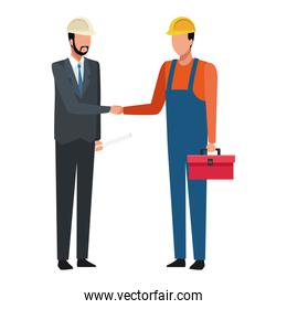 Construction engineer and worker with toolbox and plans colorful