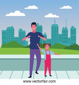 Single father and daughter cartoon