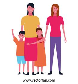 Family and kids cartoons isolated