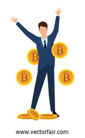 businessman with cryptocurrency