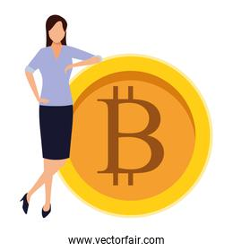 businesswoman holding cryptocurrency