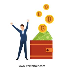 businessman with wallet cryptocurrency