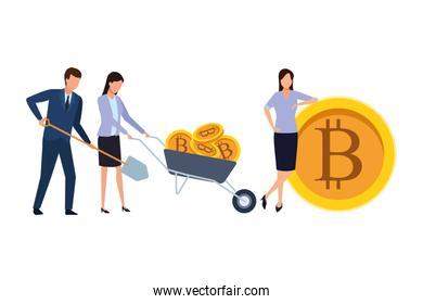 business people holding cryptocurrency