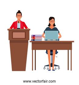 women in a podium and office desk