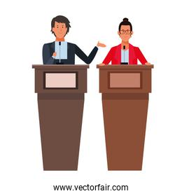 couple in a podium