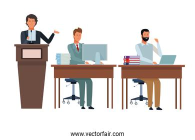 people in podium and desk