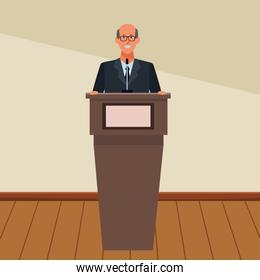 man in a podium