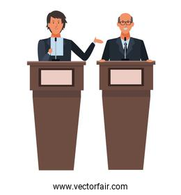 males in a podium