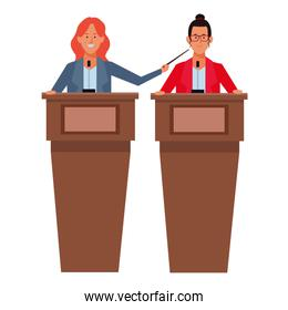women in a podium