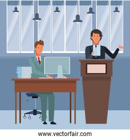 men in a podium and office desk