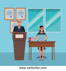 couple in a podium and office desk