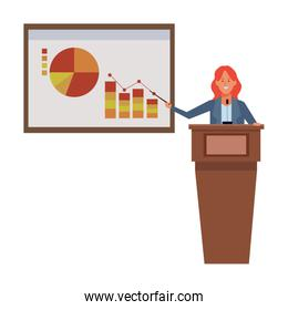 woman in a podium with infographics data chart