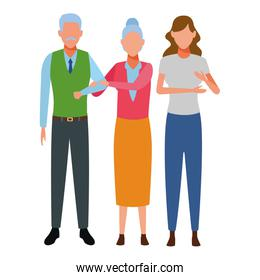 elderly couple and woman