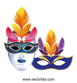 masks with feathers