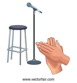 microphone and chair vector illustration