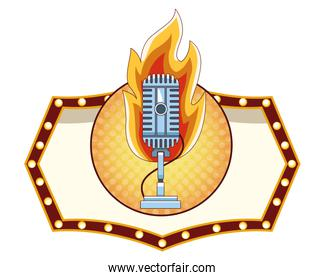 microphone icon cartoon round icon