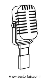 microphone icon cartoon black and white
