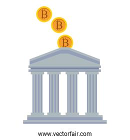 bank buiding with cryptocurrency