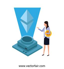 businesswoman with cryptocurrency
