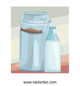milk can and bottle