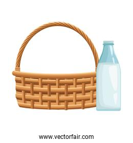 milk bottle and wicker basket