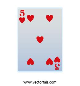 isolated five of hearts card