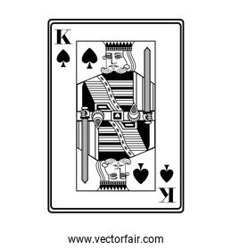 king of spades card black and white