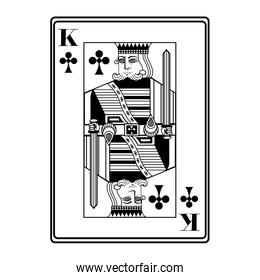 king of clubs card black and white