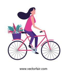 woman riding bike with flower
