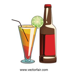 beverage bottle and cocktail