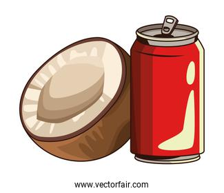 soda can and coconut