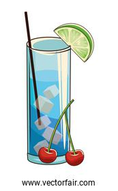 cocktail with cherries vector illustration