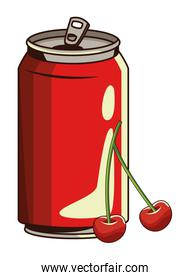 soda can and cherries