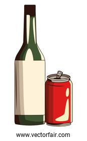 soda can and bottle